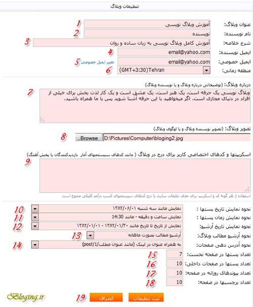بخش تنظیمات وبلاگ در بلاگفا