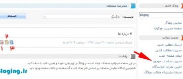 بخش مدیریت صفحات موجود در پرشین بلاگ