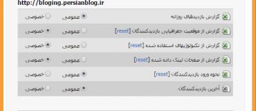 تنظیمات نمایش آمار وبلاگ پرشین بلاگ